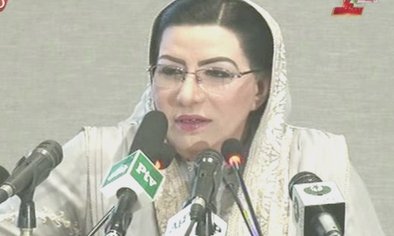 Special Assistant to the Prime Minister on Information and Broadcasting Firdous Ashiq Awan addressing event, held to mark PTI's one-year in power, on Sunday. — DawnNewsTV