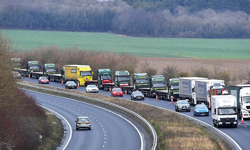 "File photo: A line of lorries is seen during a trial between disused Manston Airport and the Port of Dover of how road will cope in case of a ""no-deal"" Brexit, Kent, Britain Jan 7, 2019. — Reuters"
