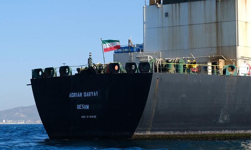 An Iranian flag flutters on board the Adrian Darya oil tanker, formerly known as Grace 1, off the coast of Gibraltar on Aug 18, 2019. — AFP