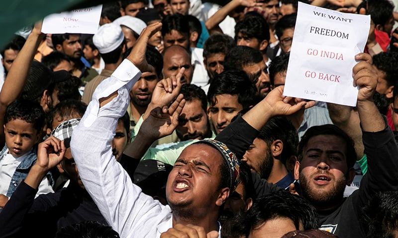Kashmiris attend a protest after Eidul Azha prayers at a mosque during restrictions following the scrapping of the special constitutional status for occupied Kashmir by the Indian government, in Srinagar on August 12. — Reuters