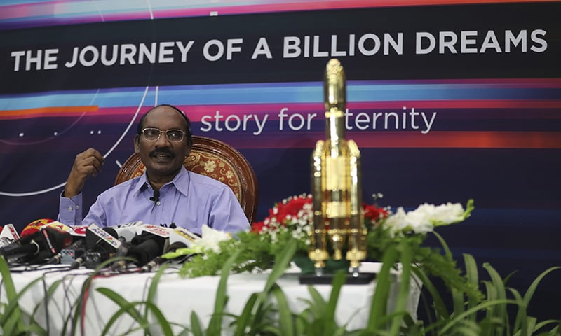 Indian Space Research Organization (ISRO) Chairman Kailasavadivoo Sivan speaks during a press conference at their headquarters in Bangalore, India on  Tuesday. — AP