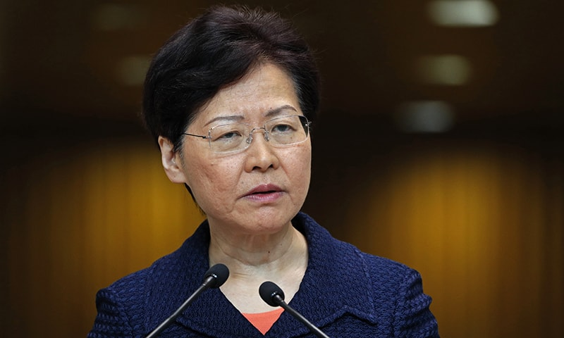 Hong Kong Chief Executive Carrie Lam listens to reporters' questions at a press conference in Hong Kong on Tuesday. — AP
