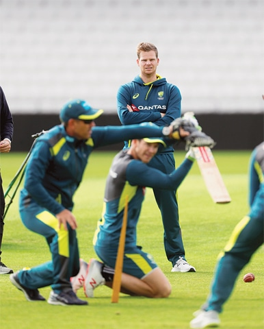 LEEDS: Steve Smith looks on during Australia's nets session at Headingley on Tuesday.—Reuters
