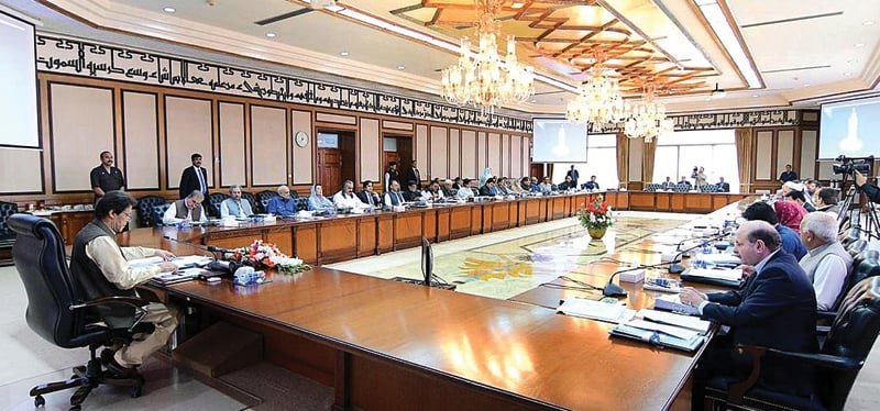 ISLAMABAD: Prime Minister Imran Khan chairs a meeting of the federal cabinet at the PM Office on Tuesday.—APP