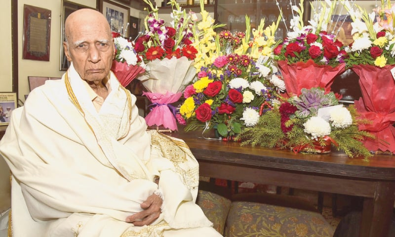 This Feb 18, 2019, file photo shows Khayyam posing for photographs during his 92nd birthday celebration at his home in Mumbai. — AFP