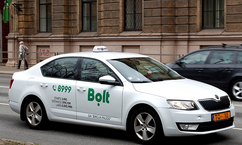 A Bolt (formerly known as Taxify) sign is seen on the taxi car in Riga, Latvia on April 9. — Reuters