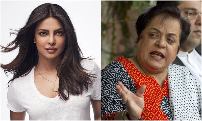 Indian actor Priyanka Chopra (L) and Pakistan Human Rights Minister Shireen Mazari. — AP/File