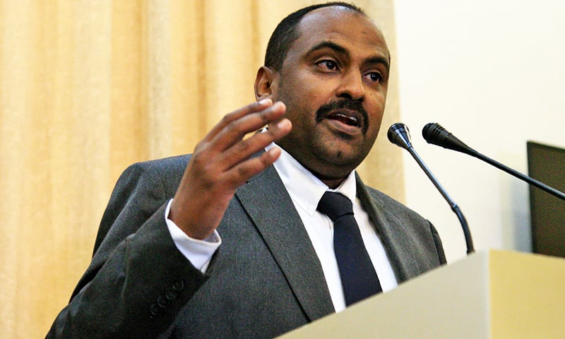 Mohamed al-Fakki Suleiman, a civilian member of Sudan's new sovereign council that will head the country during its three-year transition to civilian rule, speaks during a press conference after being sworn-in, in the capital Khartoum. — AFP