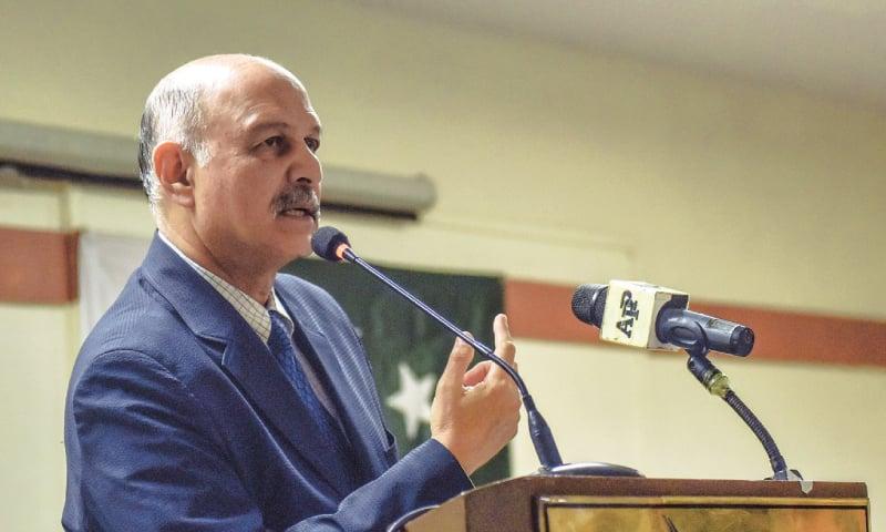 SENATOR Mushahid Hussain Sayed speaks at the event on Wednesday.—White Star