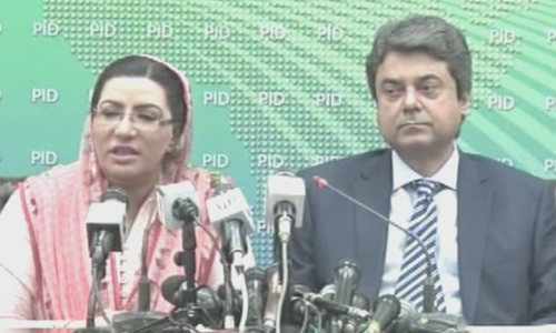 "Speaking at a press conference on Wednesday, the federal Minister for Law and Justice, Dr Farogh Nasim (right), explained the amendments being proposed to ""rationalise"" the NAB law and said one of them was aimed to ""exclude the private person from the jurisdiction of NAB"". — DawnNewsTV"