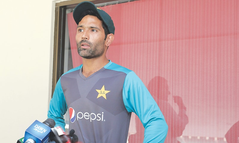 PAKISTAN Test batsman Asad Shafiq addresses  the media at the Gaddafi Stadium on Thursday. —M. Arif/White Star