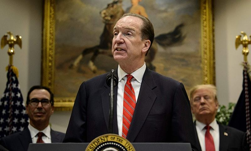 World Bank President David Malpass will visit Islamabad in the first week of November to finalise enhanced financial support for institutional reforms and growth agenda. — AFP/File