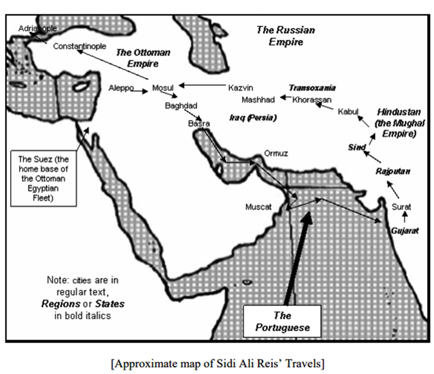 سیدی علی نے نقشے میں موجود تقریباً انہی راستوں پر چلتے ہوئے اپنا سفر کیا تھا