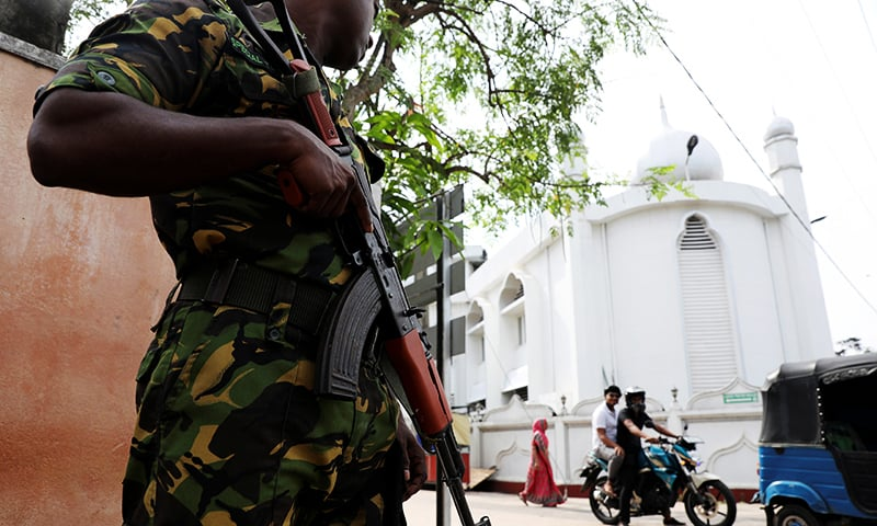 A Sri Lankan soldier stands guard outside the Grand Mosque, days after a string of suicide bomb attacks on churches and luxury hotels across the island on Easter Sunday, in Negombo, Sri Lanka April 26, 2019. — Reuters/File