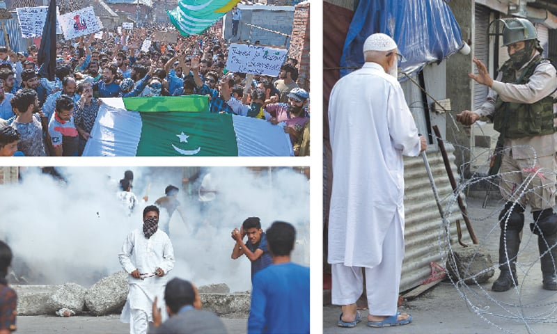 (Clockwise): Kashmiri Muslims shout anti-India slogans during a protest at Anchar Soura locality of Srinagar on Friday, following Delhi's decision to strip the disputed region of autonomy. An elderly man is stopped before being allowed to pass near a checkpoint set up by Indian soldiers during lockdown in Srinagar. Kashmiris run for cover as smoke rises from teargas shells fired by occupation forces during clashes.—AFP/AP/Reuters