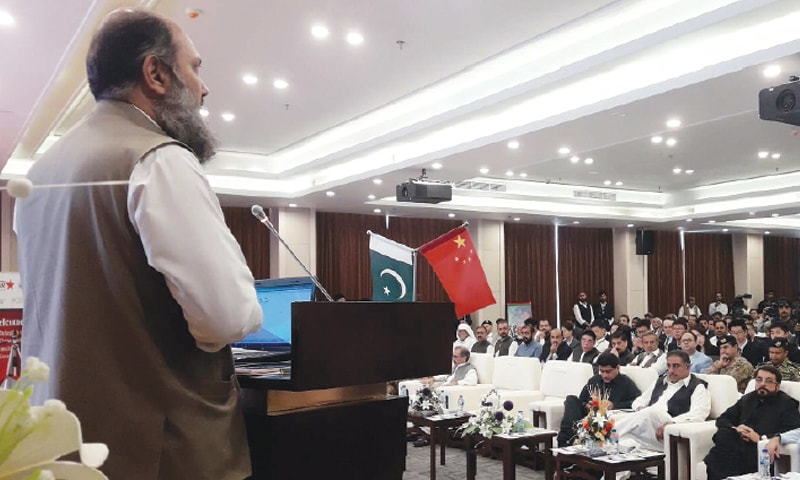GWADAR: Balochistan Chief Minister Jam Kamal Khan Alyani addresses a gathering at the Pak-China Youth Convention on Friday.—PPI