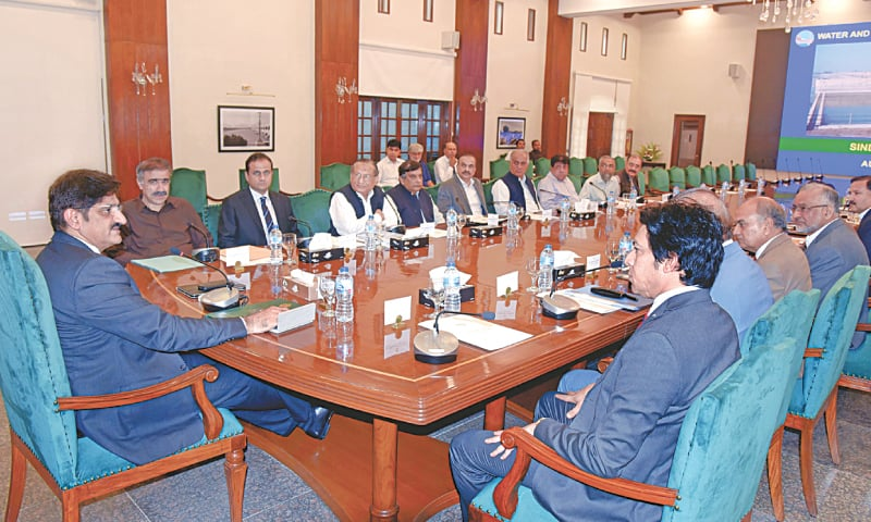KARACHI: Sindh Chief Minister Syed Murad Ali Shah presides over the meeting. Federal Minister for Water and Power Faisal Vawda and provincial Irrigation Minister Sohail Siyal are also seen.—Online