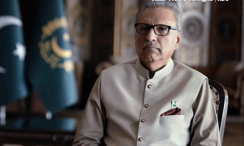 President Arif Alvi in an interview with Vice News. — Screengrab