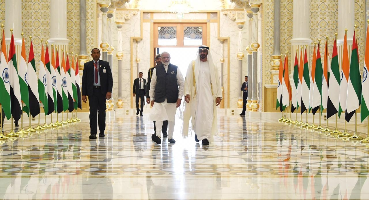 Indian Prime Minister Narendra Modi with Abu Dhabi Crown Prince Sheikh Mohammed bin Zayed Al Nahyan on Saturday. — Photo courtesy MEA India