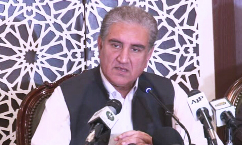 Foreign Minister Shah Mahmood Qureshi briefing the media in Islamabad on Saturday. — DawnNewsTV