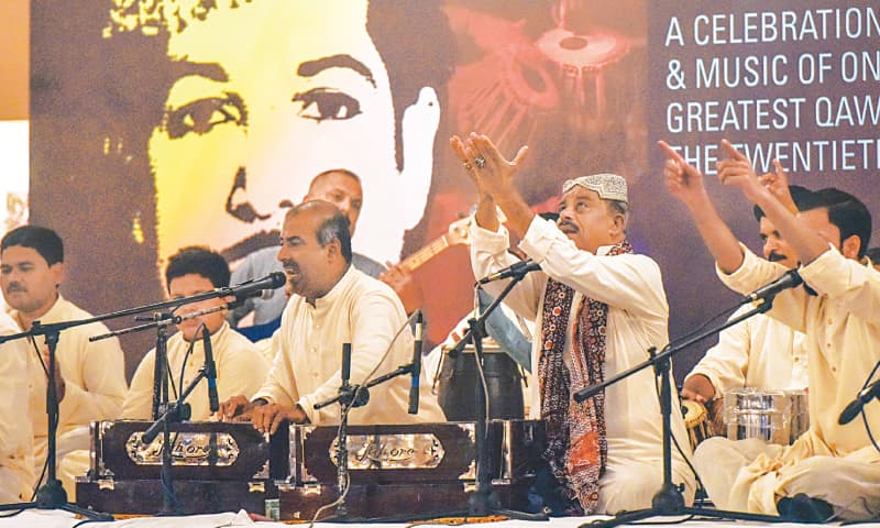 THE qawwali performance under way on Friday night.—Fahim Siddiqi/White Star