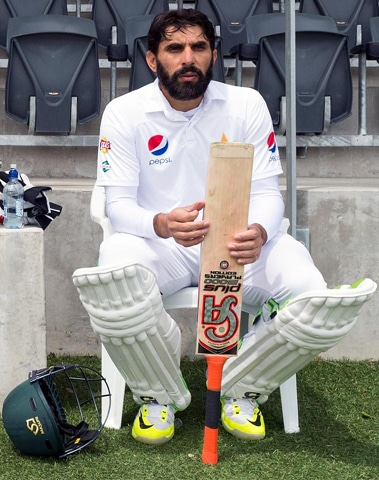 Misbah, all padded up and ready