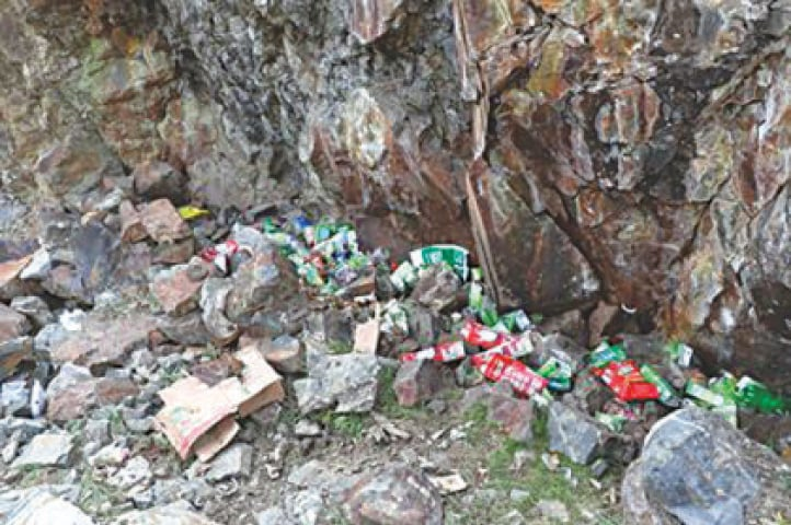 Garbage spread all over in the Naltar Valley