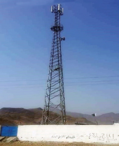 A mobile phone tower in Landi Kotal of Khyber tribal district. — Dawn
