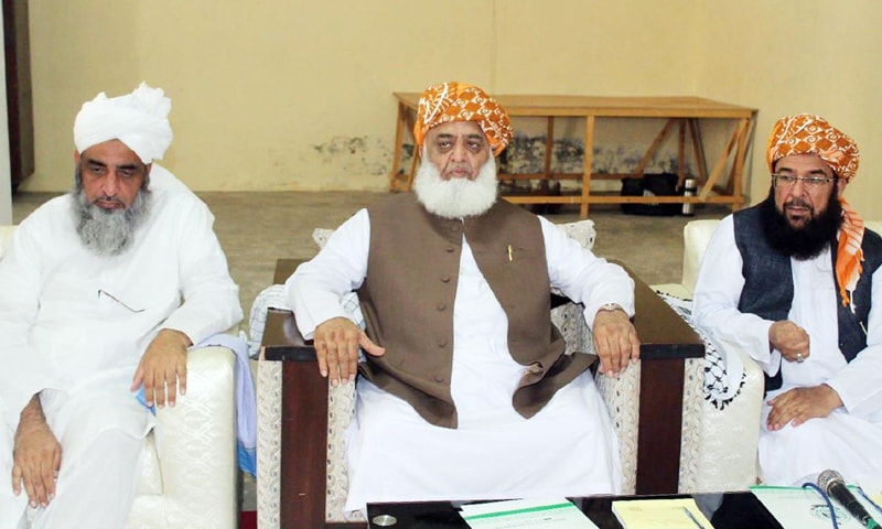 ISLAMABAD: Chief of Jamiat Ulema-i-Islam-Fazl Maulana Fazlur Rehman presides over the party's Majlis-i-Shoora meeting on Sunday.—Online