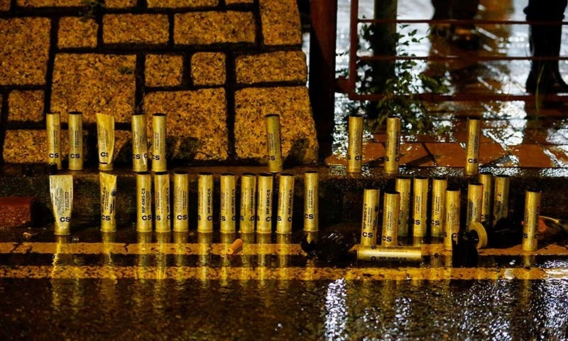 Tear gas canisters are lined up after police clashed with anti-extradition bill protesters in Tsuen Wan in Hong Kong, China on August 25. — Reuters