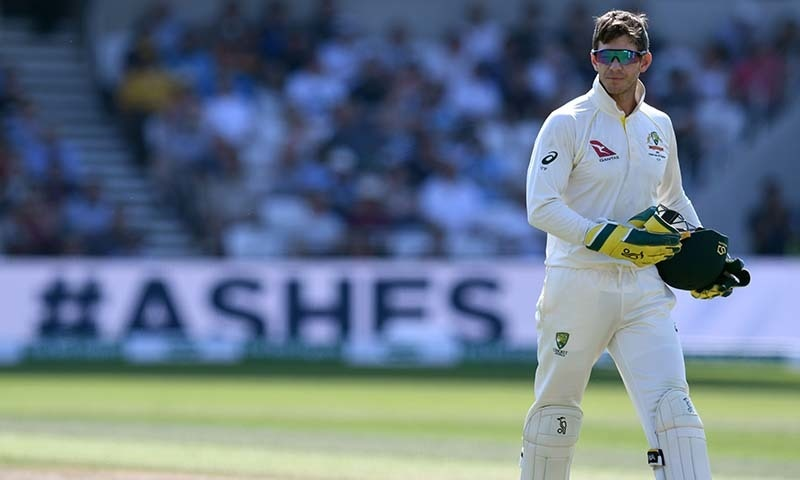 Australia's captain Tim Paine reacts on the fourth day of the third Ashes cricket Test match between England and Australia at Headingley in Leeds, northern England, on August 25. — AFP