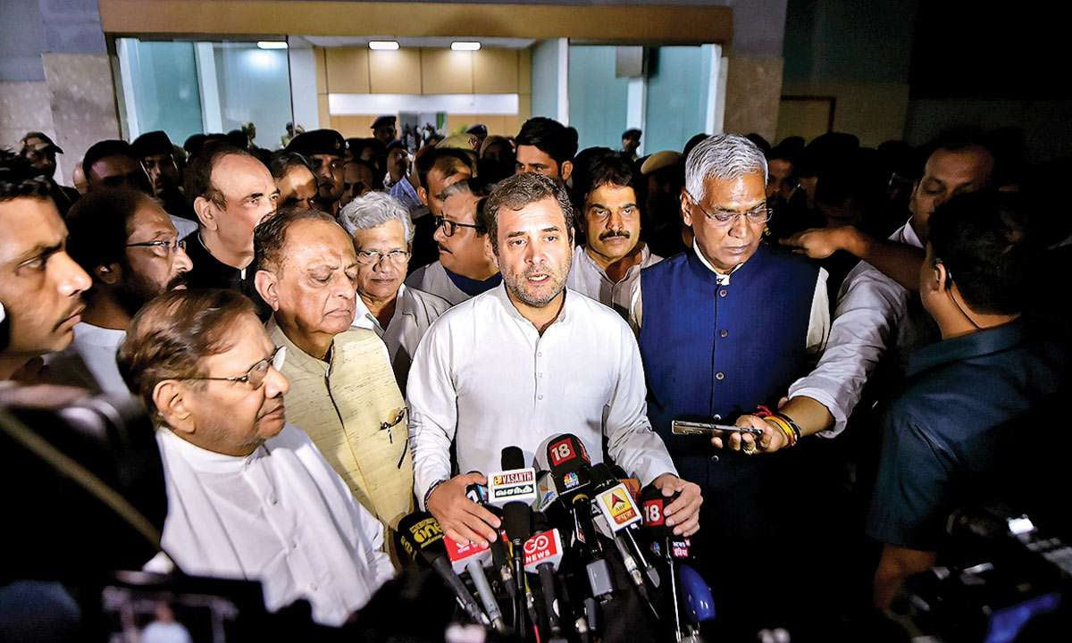 Rahul Gandhi, his team after being sent back from Srinagar. — Photo courtesy DNA India