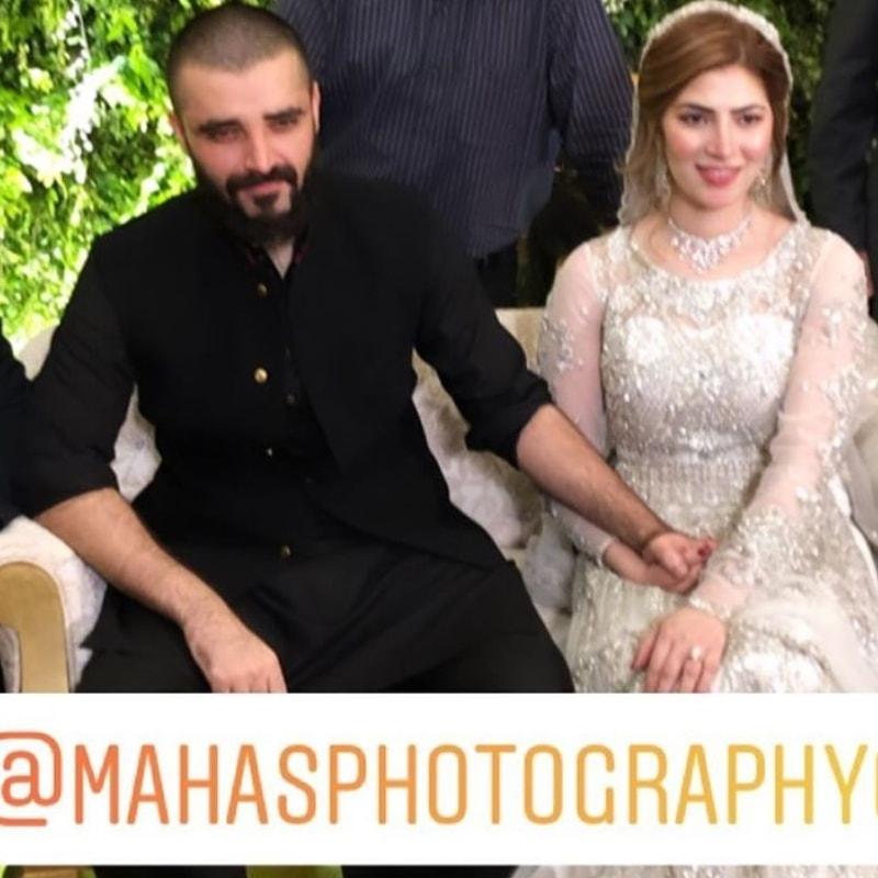Hamza Ali Abbasi and Naimal Khawar's hand-holding at their