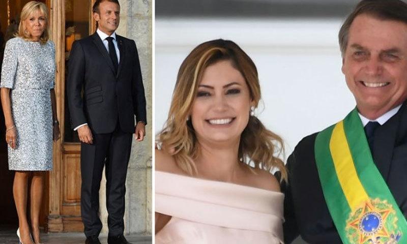 برازیلی صدر کی اہلیہ کم عمر اور فرانسیسی صدر کی اہلیہ زائد العمر ہے1فوٹو: یاہو نیوز
