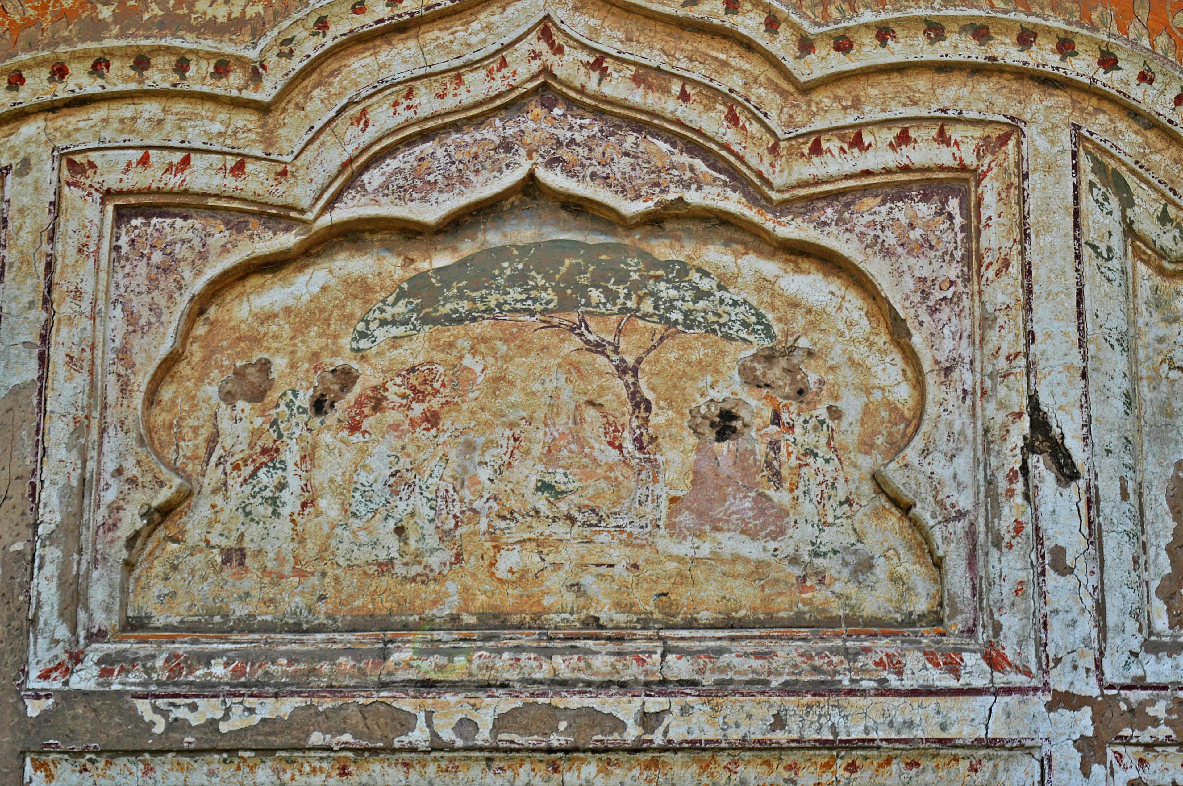 The fading painting inside the samadhi.