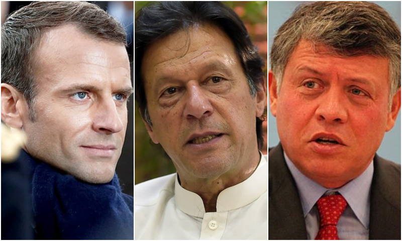 This combo photo shows (L-R) French President Emanuel Macron, Prime Minister Imran Khan and Jordanian King Abdullah II. — AFP/Wikimedia Commons/File