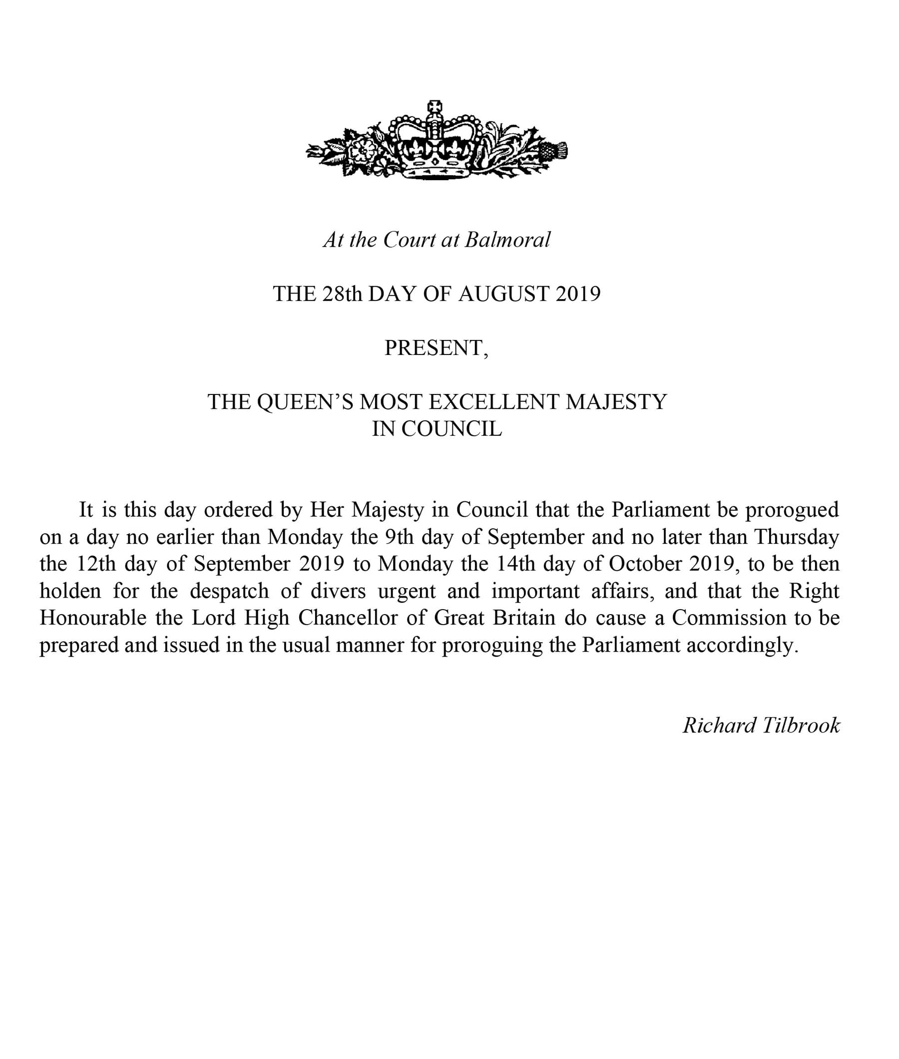 This handout image provided by the Privy Council shows a notification that the Queen has approved an order to prorogue Parliament, on Wednesday. — AP