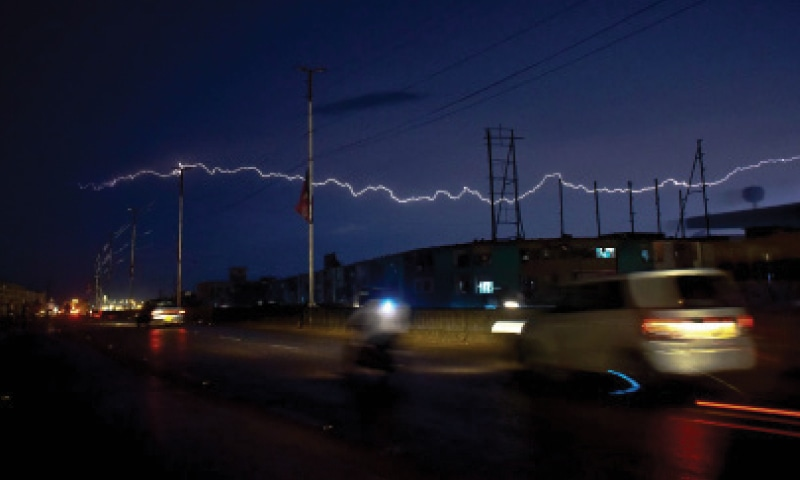 A bolt of lightning lights up the night sky in the city on Wednesday in this picture by Fahim Siddiqi.