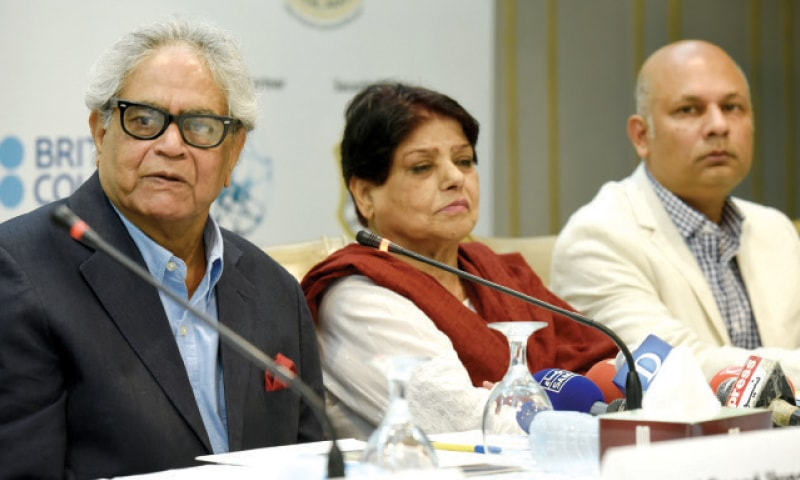 Renowned poets Iftikhar Arif, Kishwar Naheed and Haris Khalique attend the press conference on Wednesday. — Photo by Tanveer Shahzad