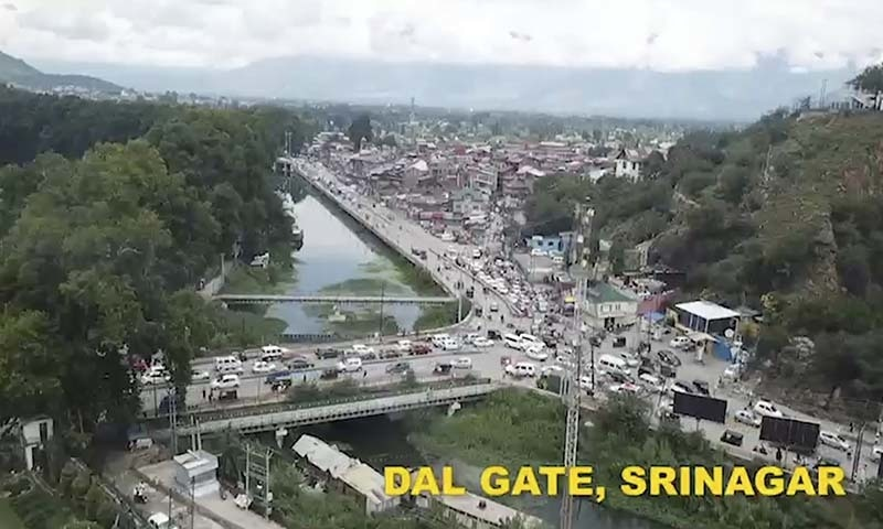 This image made from video released on August 10 by the occupied Jammu and Kashmir government purports to show life returning to normal at Dal Gate in Srinagar. — Jammu and Kashmir government via AP