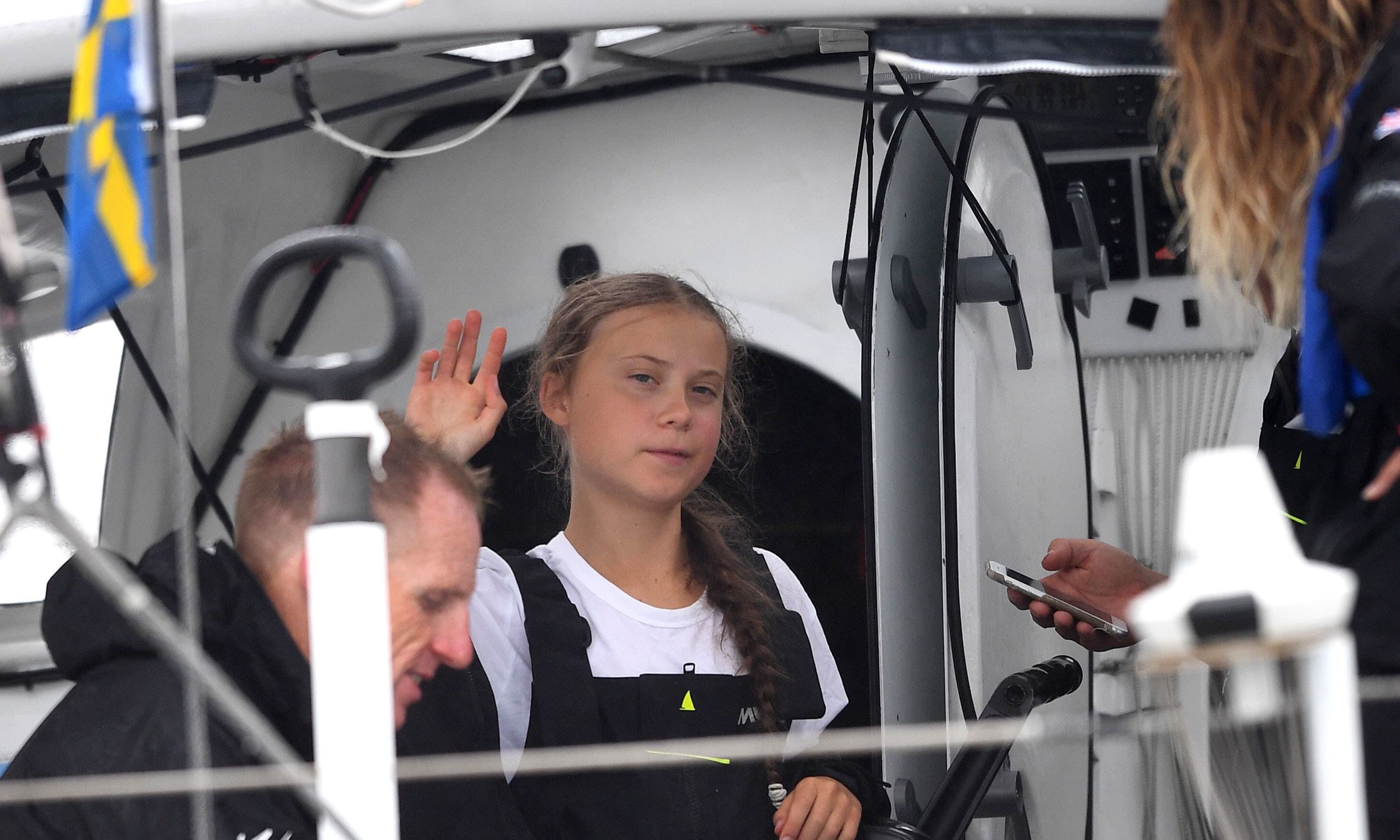 Swedish climate activist Greta Thunberg, 16, arrives in the US after a 15-day journey crossing the Atlantic in the Malizia II, a zero-carbon yacht. — AFP/File