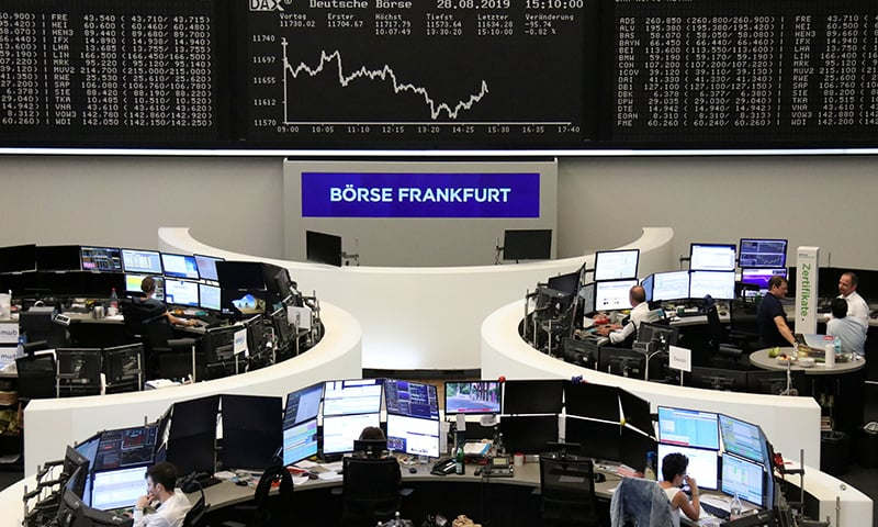 The German share price index DAX graph is pictured at the stock exchange in Frankfurt, Germany on August 28, 2019. — Reuters