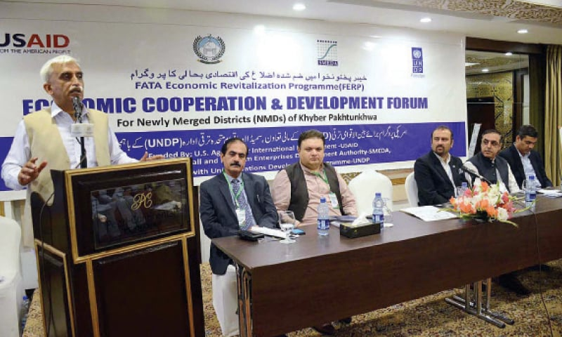 CM's Special Assistant on Industries Abdul Karim Khan addresses opening session of the Economic Cooperation and Development Forum in Peshawar on Thursday. — APP
