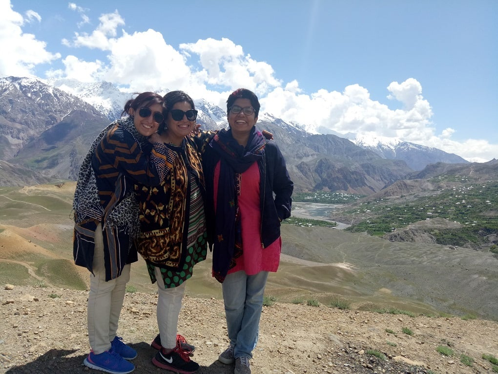 """Three lone girls"" posing in Qaqlasht, Chitral. — Image courtesy: Climate Stories Pakistan/National Geographic Society"