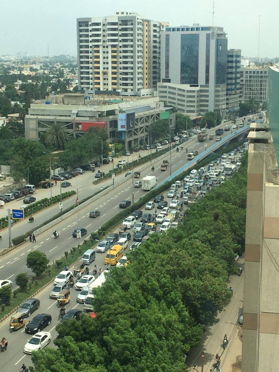 Shahrae Faisal in Karachi during Kashmir Hour. ─ Photo courtesy Rabya Hasan