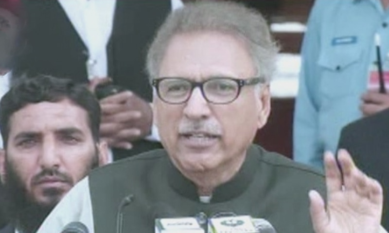 President Arif Alvi while speaking during Kashmir Hour on Friday.─ DawnNewsTV