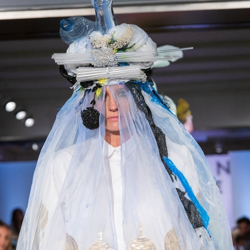 The designer wanted to drive home a point about pollution through his collection.