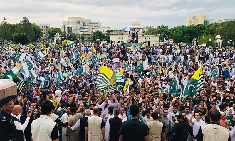 A Kashmir Hour event held outside the  outside the Prime Minister's Office (PMO) in Islamabad on Friday. — Photo courtesy PTI Official Twitter