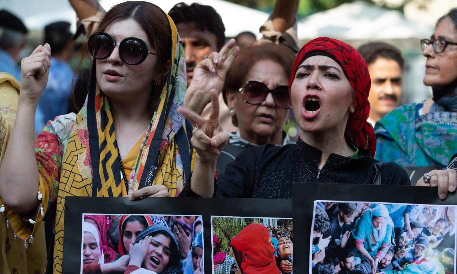 وفاقی دارالحکومت میں کشمیر آور کے موقع پر ریلی کا انعقاد کیا گیا — فوٹو: اے پی