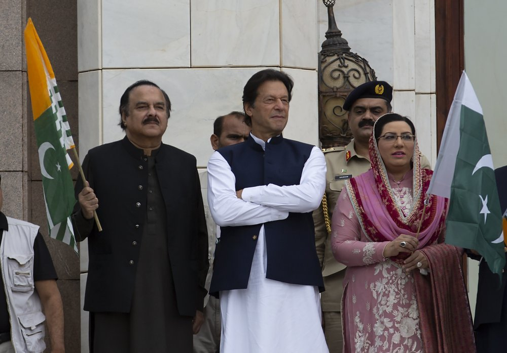 Prime Minister Imran Khan attends a Kashmir rally at the Prime Minister office in Islamabad, on Friday. ─ AP